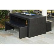 Fairview 3-Piece Patio Dining Set with Benches, Black, Seats 4    This is nice.