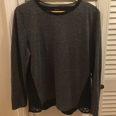 Ann Taylor mixed media gray and black lace top Ann Taylor mixed media gray and black lace top. Flattering design. Ann Taylor Tops Blouses
