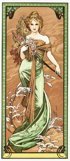 Art Nouveau lady in green gown Alphonse Mucha European art poster print Art Nouveau Mucha, Alphonse Mucha Art, Art Nouveau Poster, Art Deco, Design Art Nouveau, Art And Illustration, Kunst Inspo, Art Inspo, Old Poster