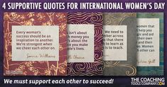 For International Women's Day we've created 4 beautiful quotes that focus on women supporting each other - and looking at a bigger picture! New Quotes, Great Quotes, Inspirational Quotes, Serena Williams Quotes, International Womens Day Quotes, Individuality Quotes, Graphic Quotes, Big Picture, Ladies Day