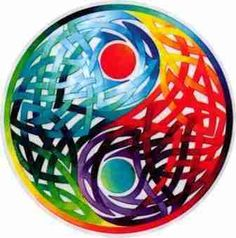 """Celtic Yin Yang Double Sided Sticker  In life, there is always the yin and the yang. This artistically designed Celtic yin yang sticker is approximately 4 1/2"""" round, and has a bright and colorful design to it. It's a double sided design, meaning it can been seen vividly on both sides if stuck to glass. Original art design by Fiona McAuliffe. #sunshinedaydream #hippieshop"""