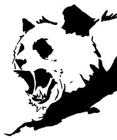 Angry Panda Stencil Template T-Shirt design