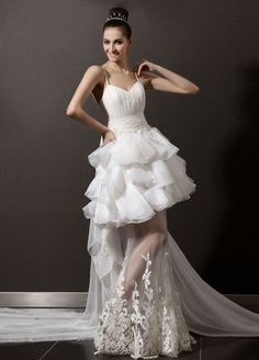 sweetheart sleeveless organza summer wedding dress with spaghetti straps