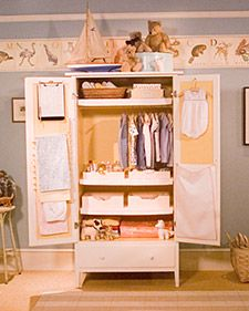 A Small Armoire Makes An Ideal Closet For Baby Clothes And Accessories.  Here Are Our Suggestions For How To Equip One.