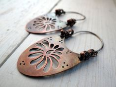 Copper Chrysanthemum Earrings by Lost Sparrow Jewelry
