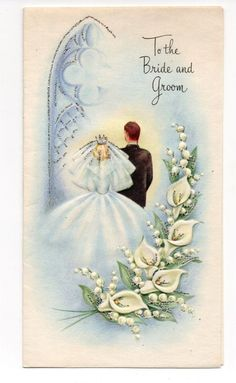 Vintage Wedding Greeting Card Bride & Groom Flowers