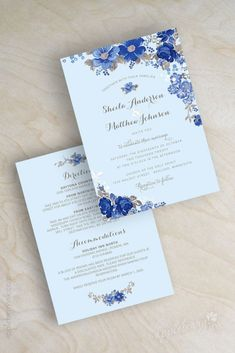 poetic blue customizable wedding invitations in blue or white by