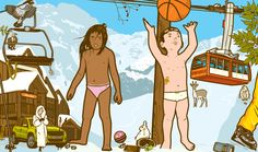 DRESS THE KIDS.  Illustration for a kid's magazine.   Bonbek magazine asked me to draw kids playing in the snow on a double spread pages.  The reader would cut and paste clothes on them.  Snow is not easy to draw. The good news is that people in ski stations wear flashy colors, so you can play with the clothes to give depth to the image.