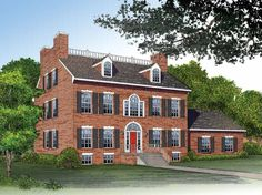 Adam - Federal House Plan with 3811 Square Feet and 4 Bedrooms from Dream Home Source   House Plan Code DHSW37586