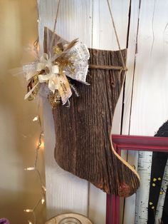 Barn Wood Christmas Stocking and Junk and Bow