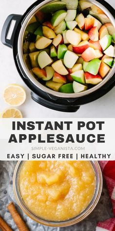 Healthy homemade applesauce recipe made right in your Instant Pot (or slow cooker). Forget store bought its so easy and incredibly delicious when made at home with no sugars added youll want to make it again and again! Easy Healthy Recipes, Baby Food Recipes, Whole Food Recipes, Easy Meals, Easy Beginner Recipes, Instapot Vegetarian Recipes, Fast Recipes, Oven Recipes, Vegetarian Cooking