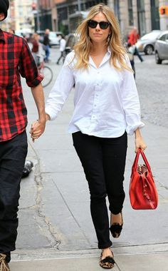 Sienna Miller- I need to find a classic white shirt (not dress) and skinny black pants.