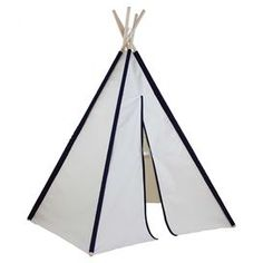 "Create a charming play space indoors or out with this cotton canvas teepee, showcasing blue rod pockets and 5 wood poles.  Product: TeepeeConstruction Material: Wood, cotton canvas and plasticFeatures:  Suitable for indoor and outdoor usePole socketsPredesigned cotton canvas with drawings of arrows and buffalos Water repellant and fire retardant Durable Easy to decorate with any water or latex based paint Complies to US Toy Safety Standards   Assembly: Assembly requiredDimensions: 60"" H x…"