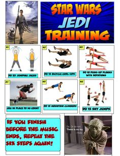 """Here's an updated version of my Star Wars Jedi warm-up poster. Physical Education Activities, Elementary Physical Education, Elementary Pe, Pe Activities, Health And Physical Education, Fitness Activities, Star Wars Classroom, Superhero Workout, Crossfit Kids"