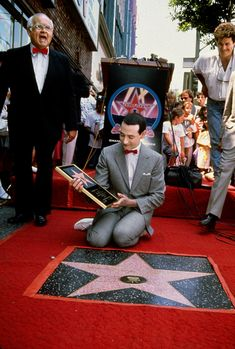 Pee-wee receiving a star on the Hollywood Walk of Fame, 1988