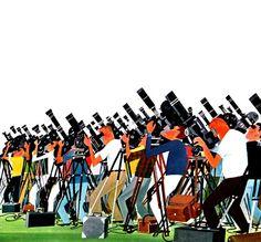 A Sea of Cameramen. Mid Mod illustration.