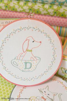 Embroidery Pattern PDF - D is for Dog (In a Little Teacup). $6.00, via Etsy.