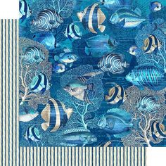 8 Sheets Graphic 45 Ocean Blue 12x12 Paper Collection 8 | Etsy Mixed Media Scrapbooking, Cozumel, Graphic 45, Kauai, Marine Life, Journal Cards, Sea Creatures, Paper Design, Pattern Paper