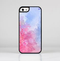 The Pink to Blue Faded Color Floral Skin-Sert for the Apple iPhone 5-5s Skin-Sert Case