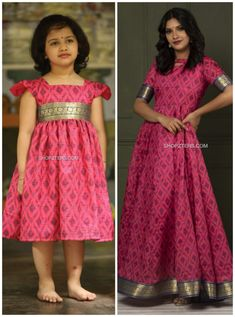 Mom Daughter Matching Dresses, Mom And Baby Dresses, Kids Party Wear Dresses, Kids Dress Wear, Kids Gown, Dresses Kids Girl, Cotton Frocks For Kids, Frocks For Girls, Girls Frock Design