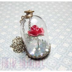 """Beauty and the Beast, """"Belle's Winter Rose"""" glass dome Necklace once... ($30) ❤ liked on Polyvore featuring jewelry, necklaces, iridescent necklace, glass pendant necklace, once upon a time, glass necklace and glass dome jewelry"""