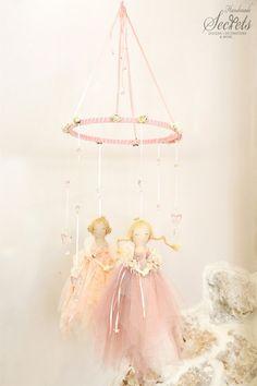Baby Mobile, Princess Baby Mobile,  Handmade Baby Mobile, Floating Princess, Pink Princess, Girl's Baby Room, Fabric Princess, Mob102