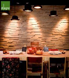 houten driedimensionale wandbekleding | sfeervolle muur | horeca inrichting | brasserie | cubetto murale | BVO Vloeren