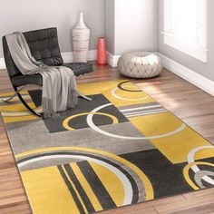 wellness interieur Well Woven Galaxy Wave Gold/Gray Area Rug Rug Size: R Diy Carpet, Rugs On Carpet, Carpets, Contemporary Rugs, Modern Rugs, White Area Rug, Blue Area Rugs, Room Rugs, Rugs In Living Room