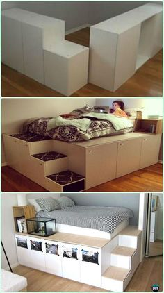DIY IKEA Kitchen Cabinet Platform Bed Instructions - DIY Space Savvy Bed Frame Design Concepts Instructions bathroom decor bedroom decor decoration for home Diy Ikea Hacks, Space Saving Beds, Space Saving Furniture Ikea, Furniture Cleaning, Furniture Repair, Furniture Removal, Bed Frame Design, Bed Design, Design Bedroom
