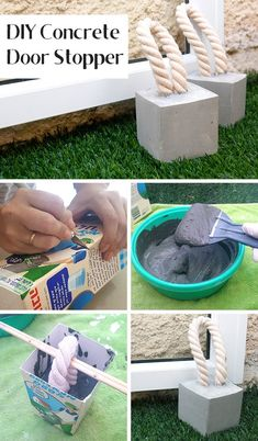 DIY Door Stop out of concrete and rope, easy to make, door stopper, just add rope (aff link)