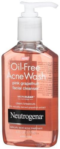 Neutrogena Oil-Free Acne Wash Facial Cleanser, Pink Grapefruit, 6 Ounce***Size: Pack of 1.Oil-free,Non-comedogenic (won't clog pores),MicroClear,Salicylic Acid,100% naturally derived grapefruit extract,.