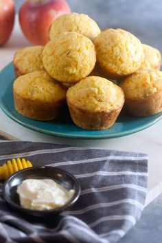 The best corn muffin recipe with more cornmeal and less sugar, swirled with corn, apples, and sharp cheddar cheese.