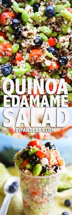 Quinoa Edamame Salad | This one is great for parties and can be served in throw-away cups for serving ease. Also great as a salad to have in the fridge all week! It is packed with fresh fruit and veggies and it is so healthy and delicious.