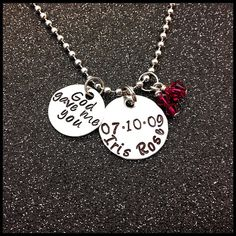 God gave me you Personalized Hand Stamped Necklace With Name and Date New Mother Gift Swarovski Crystal Birthstone on Etsy, $20.95