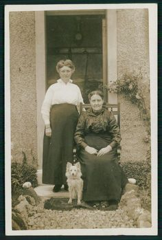 2 ladies and her Pomeranian Spitz Dog old c1910s private real photo postcard