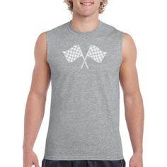 Los Angeles Pop Art Men's Sleeveless T-Shirt - Nascar National Series Race Tracks, Size: Large, Gray