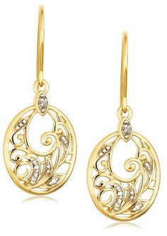 Yellow Gold Plated Sterling Silver Diamond Accent Floral Dangle Earrings Amazon Curated Collection,