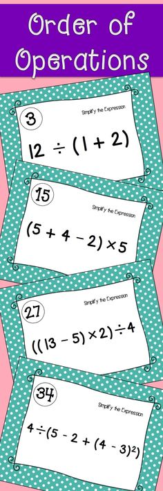 Order of Operations Task Cards. Use for activities such as stations, partners, or class warm-ups. Middle or High school pre-algebra or algebra task cards. Math Literacy, Math Classroom, Teaching Math, Teaching Ideas, Math Math, Numeracy, Classroom Ideas, Math Resources, Math Activities