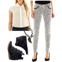 """Definitely on trend in this black and white """"#firstdaylook"""" by dawnwally on @Polyvore"""