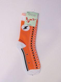 Womens Eros Crew Sneaker Pattern Socks. Sz. 9-11. Novelty Socks. NWT Orange #Eros #CrewSock