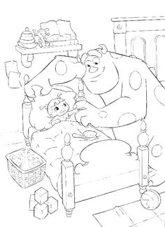 sulley playing with little boo coloring pages monster inc coloring pages kidsdrawing free - Pixar Coloring Pages Monsters