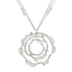 Palmiero Jewelry 18K White Gold Contemporary Ruffled Circle Diamond Necklace (=)
