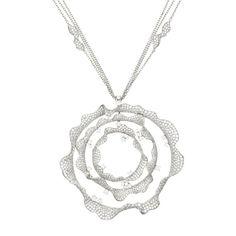 Palmiero Jewelry 18K White Gold Contemporary Ruffled Circle Diamond Necklace (=)
