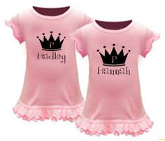 Twin Clothing - Set of 2 Personalized Twin Princess Dresses, Twin Girl Clothes, Twin Baby Girl Dresses, Personalized Twin Girl Dresses by CountlessMiracles73 on Etsy https://www.etsy.com/listing/244466932/twin-clothing-set-of-2-personalized-twin