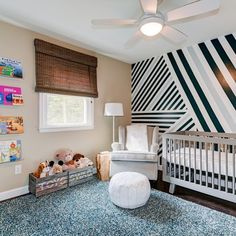 @babyletto on Instagram: 💞swaggy #diy stripes for the win! 👏➖#babyletto Hudson crib ➖ 📷: designed by @kristinmccueinteriors 🖤
