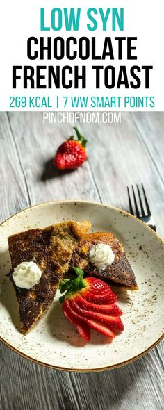 Chocolate French Toast - Pinch Of Nom Low Syn Chocolate, Chocolate French Toast, Slimming World Desserts, Slimming World Breakfast, Healthy Breakfast Recipes, Healthy Snacks, Healthy Recipes, Breakfast Ideas, Slimming Eats
