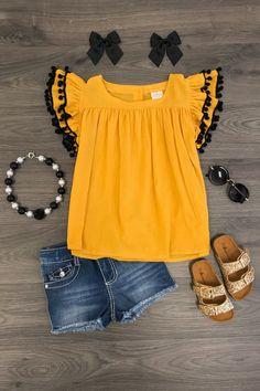 Mustard Pom Pom Shirt with mini denim skirt - summer outfit Dresses Kids Girl, Little Girl Outfits, Kids Outfits Girls, Little Girl Fashion, Toddler Outfits, Cute Outfits, Fashion Kids, Toddler Fashion, Kids Mode