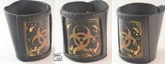 Leather and etched brass BIOHAZARD bracelet by barlogg