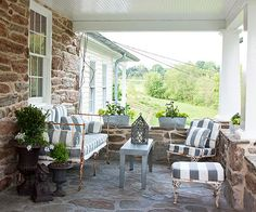 One way to integrate a covered patio space into your home is by using furniture as an accent.