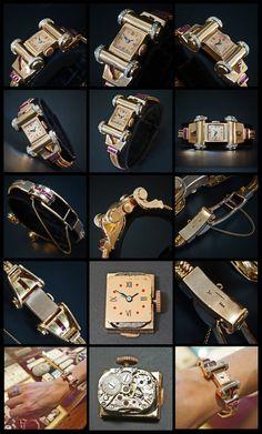 Lonville 14K Rose Gold Diamond & Ruby 1940s Bracelet Watch © Alex Fierro / Olde Towne Jewelers